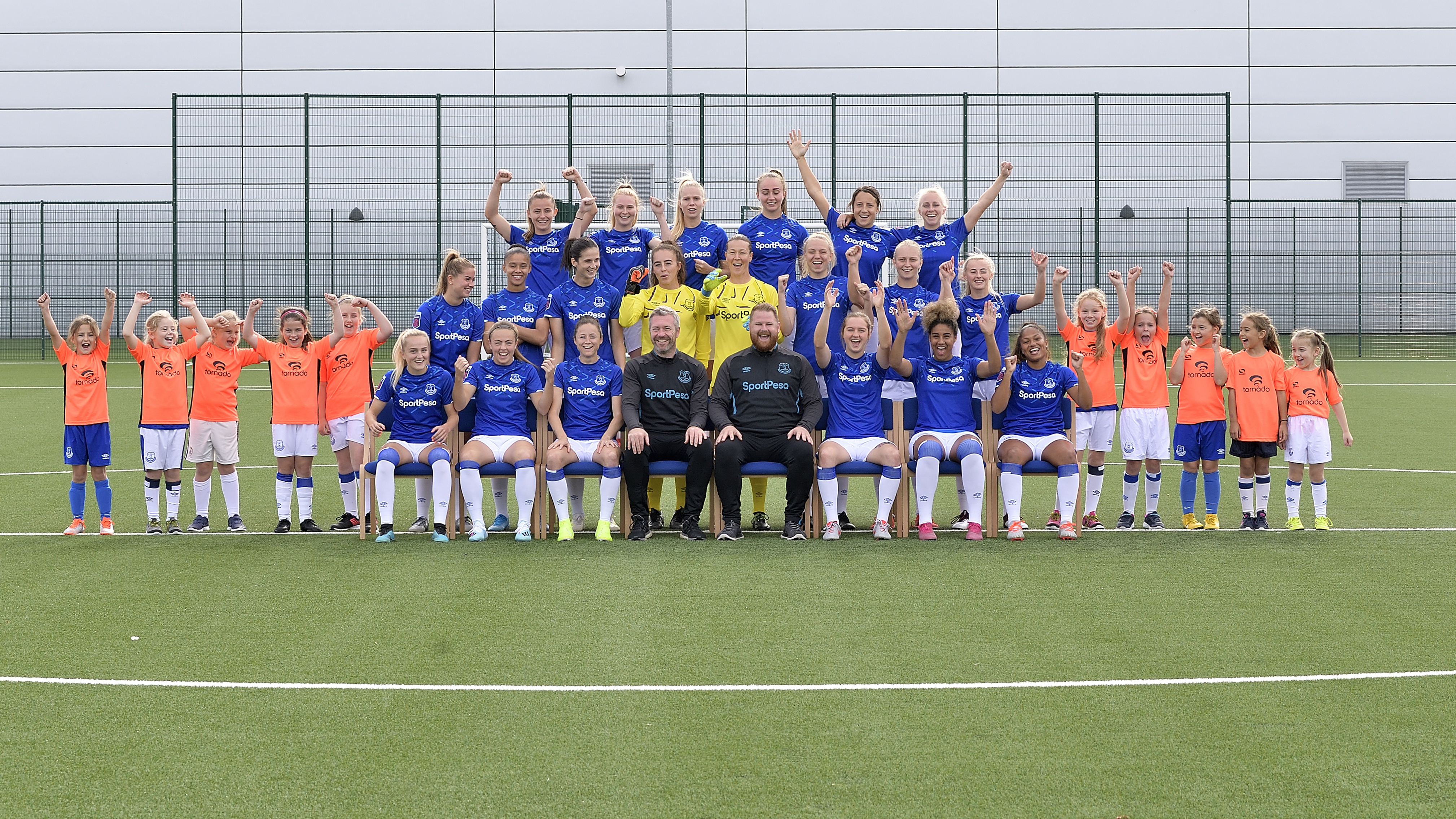 Watch Girls Team Invited To Join Everton Team Photo